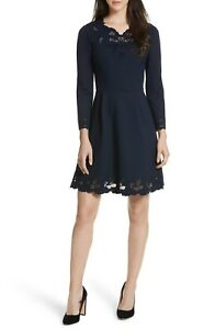 TED BAKER Navy Blue EMEY Eyelet Embroidered Stretch Knit Fit & Flare Dress 1 0/2