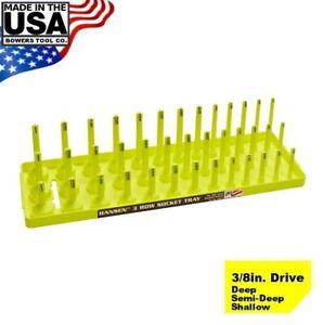 "Hansen 3/8"" Socket Tray Organizer Holder 3 Row Standard SAE Shallow Deep Yellow"