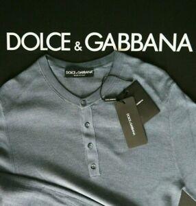 Dolce&Gabbana Pullover Strick Serafino Seide blau L 50 Herren Silk
