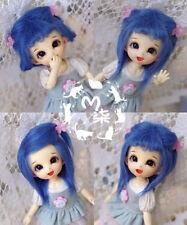 """5-6"""" 14cm BJD fabric fur wig Ocean Blue for AE PukiFee lati 1/8 Doll"""