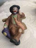 "VTG Flambro Emmett Kelly jr clown sitting on bench with umbrella-porcelain 3.25"""