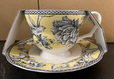 222 FIFTH ADELAIDE YELLOW TEA CUP & SAUCER SET