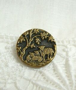 """Vintage Metal Picture Button SHEEP UNDER TREE 11/16"""""""