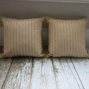 "RALPH LAUREN Set of 2 San Luca Stripe Cream Red Ivory Throw Pillows 18"" Inserts"