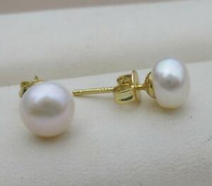 Beautiful Charming 7mm South Sea White Pearl Earrings 14k Gold P Stud