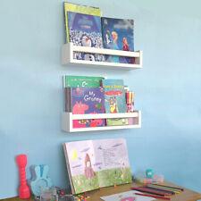 Wood Nursery Shelves White Set of 2-Floating Bookshelf for Kids- Perfect