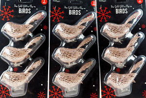 Set Of 9 Rose Gold Glitter Encrusted Clip On Birds Christmas Tree Decorations