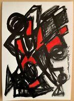 SEVARD Abstrakte Komposition Gemälde Zeichnung A4 Original Signiert Unikat N443