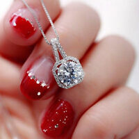 Women Bling Charm Crystal Rhinestones Pendant Silver Statement Necklace Jewelry