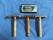 Vtg Lot of 3 GILLETTE The New 1930s-50s Double Edge Safety Razors Schick Blades