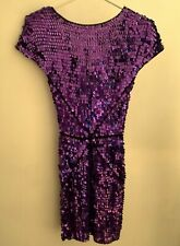 """FRENCH CONNECTION FCUK """"PARACHUTE PURPLE"""" SEQUINNED CROCHET Dress 8 36 NEW TAG"""