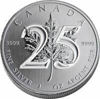 2013 CANADIAN MAPLE LEAF 25TH ANNIVERSARY BU SILVER 1OZ COIN