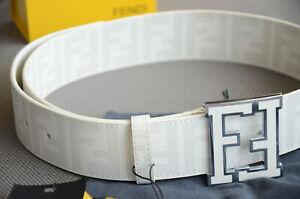 Authentic FENDI FF Buckle White Belt College Zucca 105 / 42 fits 36-38