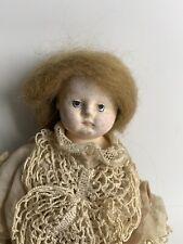 11 inch unmarked papier mache blonde hair with Original Dress