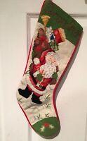 "Imported ELEGANCE Needlepoint SANTA CLAUS CHRISTMAS Stocking ""Grandma"" 21 Inch"