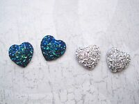 SILVER or PEACOCK BLUE GLITTER MERMAID HEART Stud Earrings Silver Plated Post
