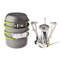 Outdoor Cookware Set Pot Pan Piezo & Ignition Camping Stove Travel Cooking Tool