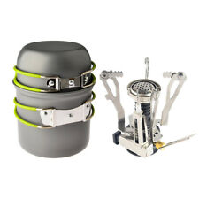 Outdoor Cookware Set Pot Pan Piezo & Ignition Camping Stove Travel Cooking Tool