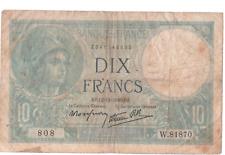 Billet 10 francs Minerve 1940 TTB-