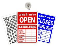OPEN CLOSED BUSINESS OPEN HOURS SIGN Store Hours of Operation Window Glass Door