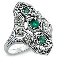 GENUINE EMERALD ANTIQUE ART DECO STYLE .925 STERLING SILVER RING SIZE 10, #363