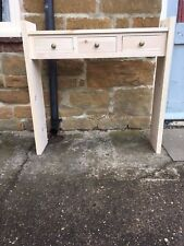 H90 W90 D22cm BESPOKE CONSOLE HALL TELEPHONE TABLE 3 DRAWER CHUNKY UNTREATED