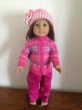 MAUVE SLACKS/PINK SWEATHER AND CROCHET HAT FITS AMERICAN GIRL DOLL    NEW
