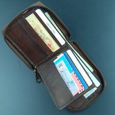Vintage Dark Brown Men's Bi-Fold Zipper Leather Wallet with ID window front