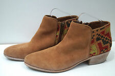 SAM EDELMAN Tan Suede & Multi Colour Embroidery Ankle Boots UK8; US10M