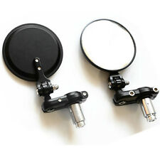 """MOTORCYCLE 3"""" ROUND BLACK 7/8"""" HANDLE BAR END MIRRORS CAFE RACER BOBBER CLUBMAN"""