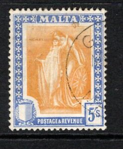 Malta 1922-26  5s. Orange Yellow & Bright Ultramarine SG137 Used