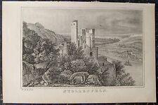 Schloss STOLZENFELS bei KOBLENZ am Rhein. Orig. Lithographie 1840