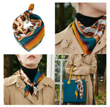 100% SILK SATIN Bandana Square Scarf Hair Ponytail Wrist Wrap Animal Neckerchief