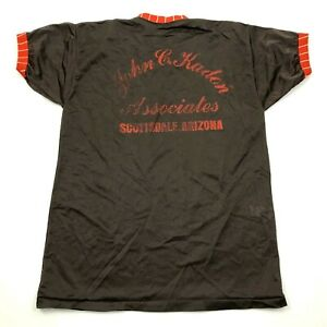 VINTAGE Russell John Kaden Associates Jersey Shirt Size Large Brown Orange 70s