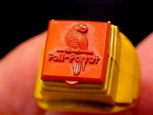 1950s POLL PARROT Plastic JACK IN THE BOX Toy Premium Plastic RING Red/Yellow