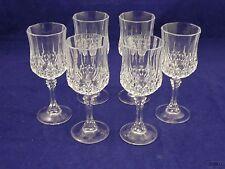 6 Diamond Cut Crystal Flared Wine Glass Goblets