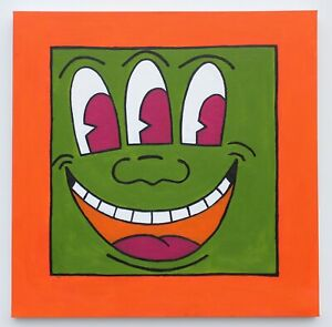 Keith Haring Icons 3rd eye genuine reproduction LRG acrylic on canvas 100x100cm