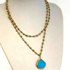 Rachel Reinhardt Gold Pyrite Turquoise Color Pendant Double Necklace Adjustable
