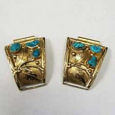Andy Thomas Native American 14k Yellow Gold Turquoise Watch Ends Jewelry ATWE2