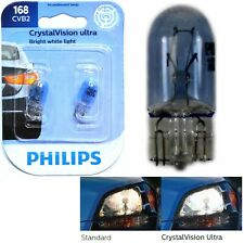 Philips Crystal Vision Ultra 168 5W Two Bulbs License Plate Light Stock OE T10