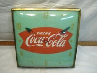50s Vintage Green Coca-Cola Fish Tail Advertising Clock Sign Pam Swihart Coke