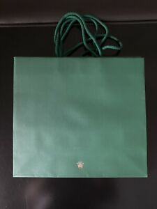 """Authentic Rolex Paper Shopping Gift Bag Mint Gold Crown 11x12x4.25"""""""