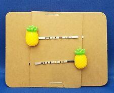 PINEAPPLE Fruit Handmade Bobby PIn Hair clips - Set of 2