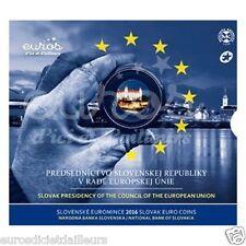 Set BU SLOVAQUIE 2016 - Présidence de l'UE - Série 1 cent à 2 euros + 2€ CC