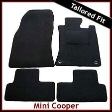 MINI HATCHBACK TAILORED RUBBER CAR MATS WITH SILVER STRIPE TRIM 1182 2001-2006
