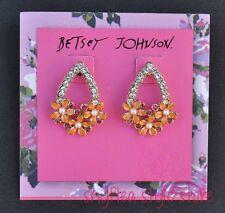 Betsey Johnson Earrings Teardrop Floral Pink Cluster Flowers Cute New Stud