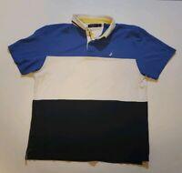 Vintage Nautica Mens 90s Polo Shirt XL Striped Color Block White Blue