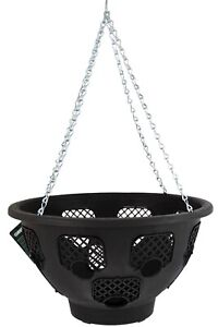 """14"""" EASY FILL PLASTIC HANGING BASKET WITH CHAINS - PLANTING FLOWERS"""