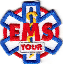 """EMS TOUR"" PATCH - Iron On Embroidered Applique/ Medical, Red Cross,Emergency"