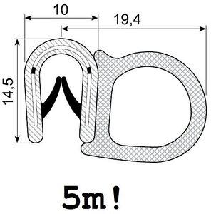 5m Gummiprofil (5,95 €/m) Gummidichtung Türdichtung Kofferraumdichtung DMF-P-5-5